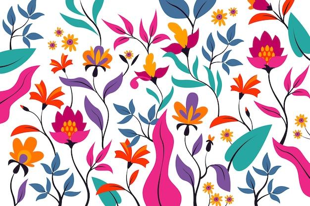 Conceito de fundo floral exótico colorido Vetor grátis