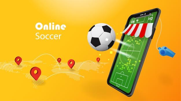 Conceito de futebol on-line com telefone celular 3d e futebol em fundo amarelo com pino de localização de mapa de mundo. Vetor Premium