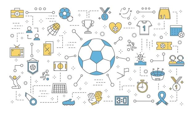 Conceito de futebol ou futebol. conjunto de ícones de futebol: taça de troféu, uniforme, bola, estádio e outros. ilustração de linha Vetor Premium
