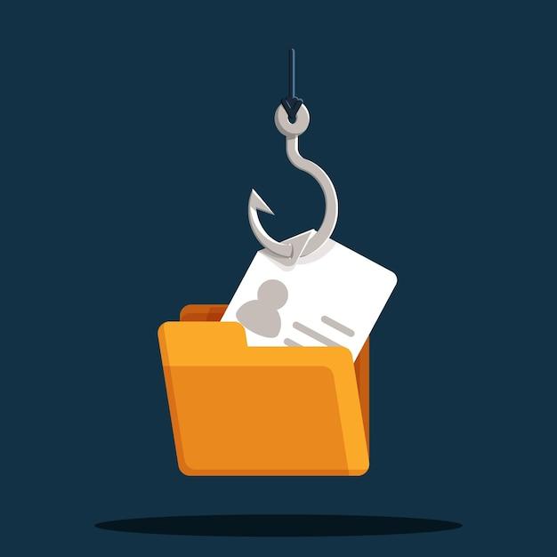 Conceito de gancho de pesca de conta de phishing Vetor Premium