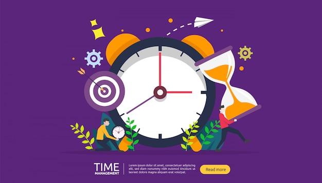 Conceito de gerenciamento de tempo e procrastinação. planejamento e estratégia para banner de negócios Vetor Premium