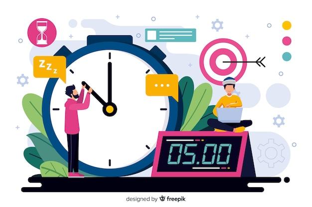 Conceito de gerenciamento de tempo para a página de destino Vetor grátis