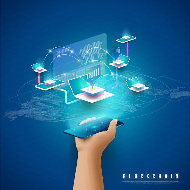 Conceito de grande processamento de dados, estação de energia do futuro, data center, cryptocurrency e blockchain Vetor Premium