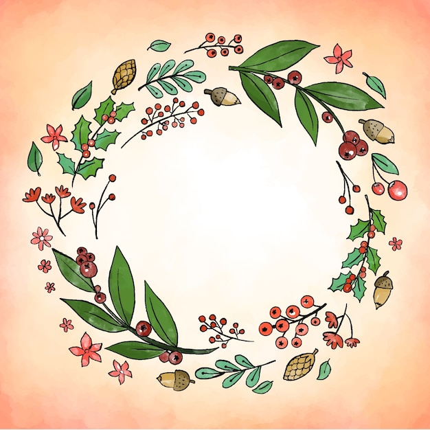 Conceito de grinalda de natal em aquarela Vetor grátis