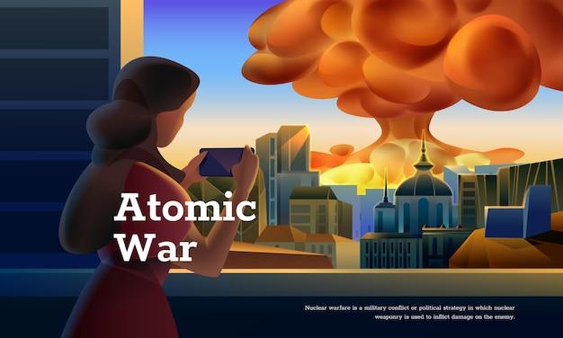 Conceito de guerra atômica. mulher vendo bomba atômica explodindo na cidade Vetor Premium