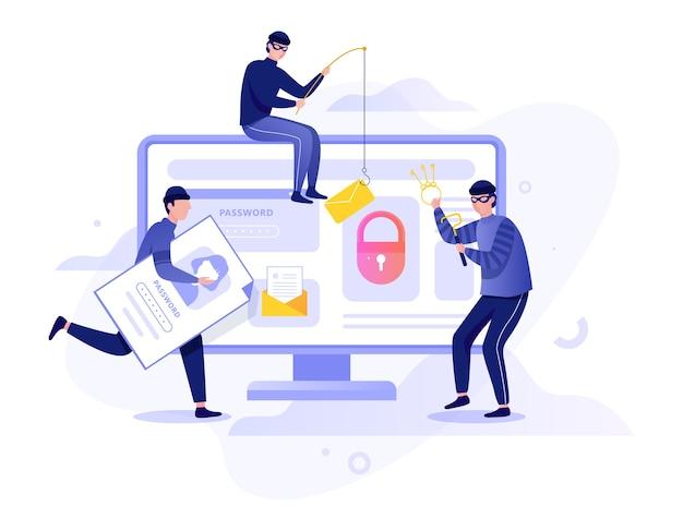 Conceito de hacker. roubar dados digitais do computador. sistema de dispositivo de ataque de ladrão. hacking na internet. ilustração em estilo cartoon Vetor Premium