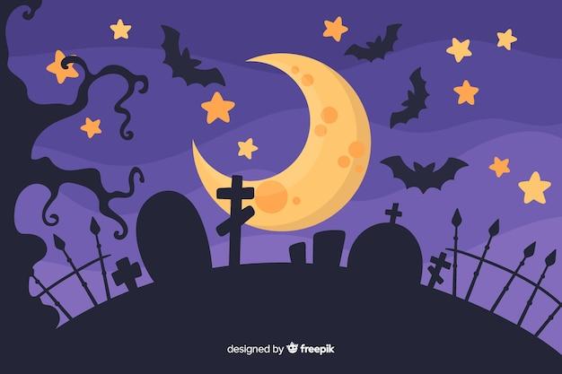 Conceito de halloween com fundo design plano Vetor grátis