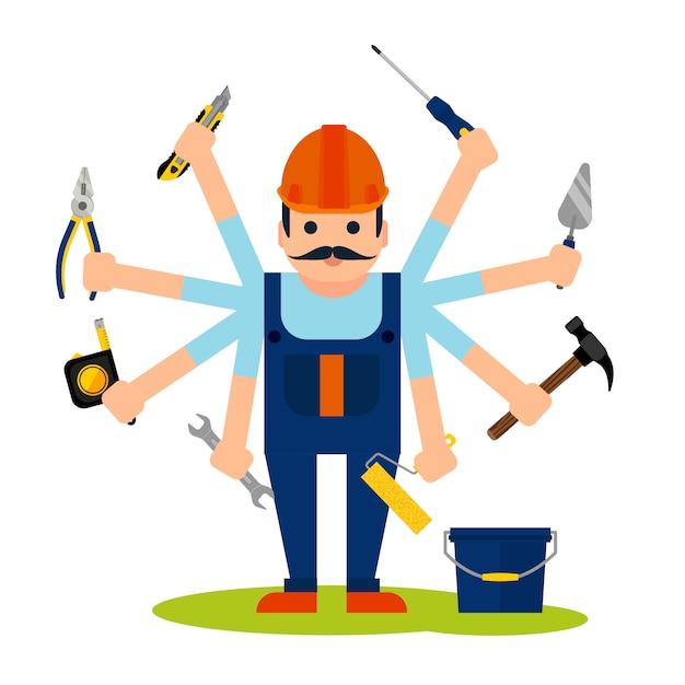 Conceito, de, handyman, trabalhador Vetor grátis