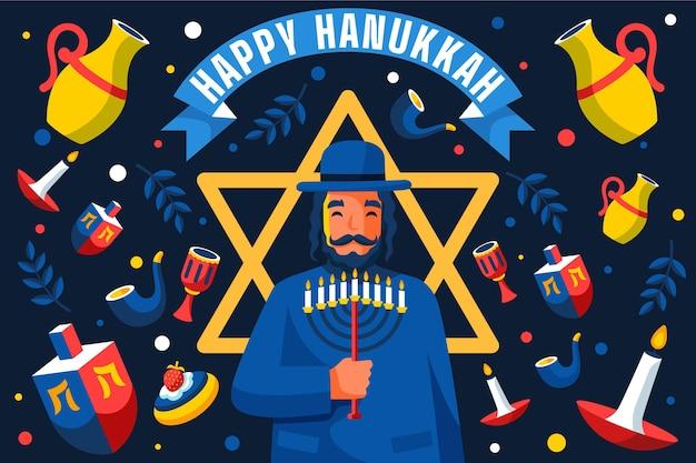 Conceito de hanukkah em design plano Vetor grátis