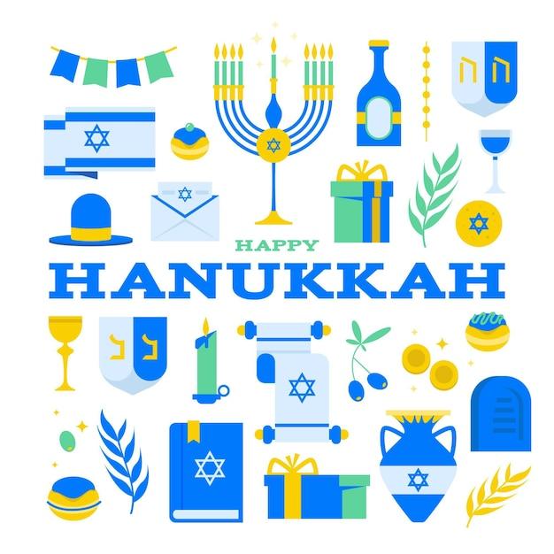 Conceito de hanukkah em design plano Vetor Premium