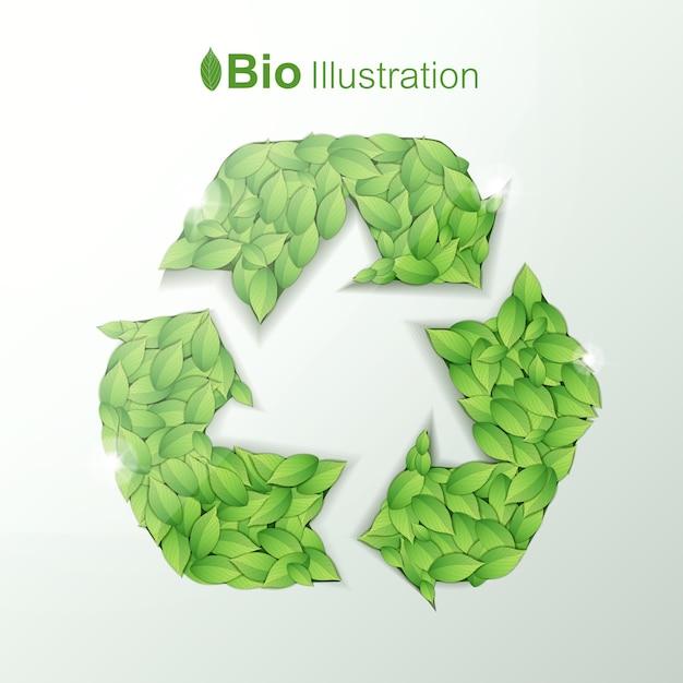 Conceito de harmonia ecológica com folhas verdes em forma de símbolo de reciclagem Vetor grátis
