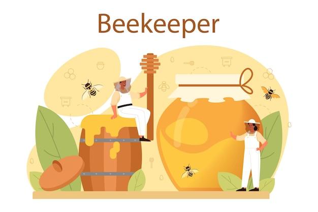 Conceito de hiver ou apicultor. agricultor profissional com colmeia e mel Vetor Premium
