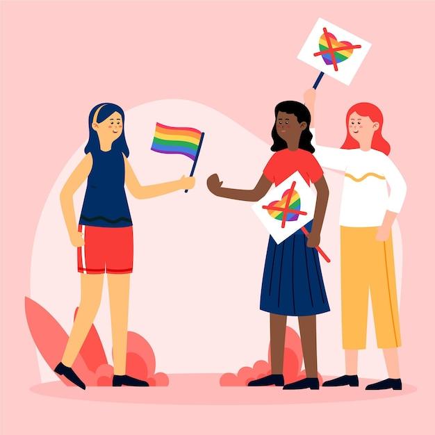 Conceito de homofobia com pessoa lutando contra o ódio Vetor grátis