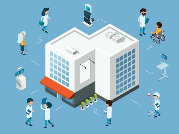 Conceito de hospital. médicos isométricos, equipamentos médicos e pacientes. ilustração do hospital moderno Vetor Premium