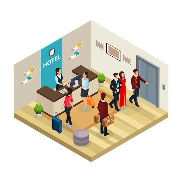 Conceito de hotel de serviço de recepção isométrica com funcionários e recepcionista registra visitantes isolados Vetor grátis