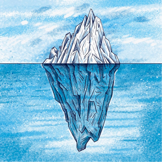 Conceito de iceberg ilustrado Vetor grátis