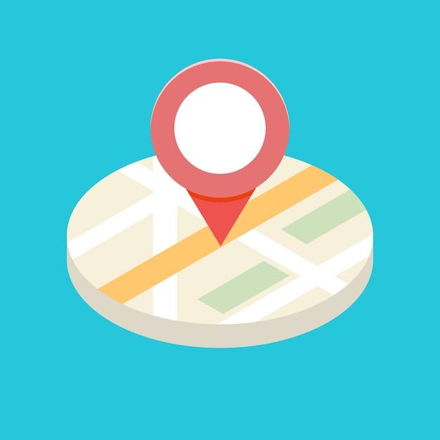 Conceito de ícone isométrico gps para aplicativos móveis. ilustração. Vetor Premium
