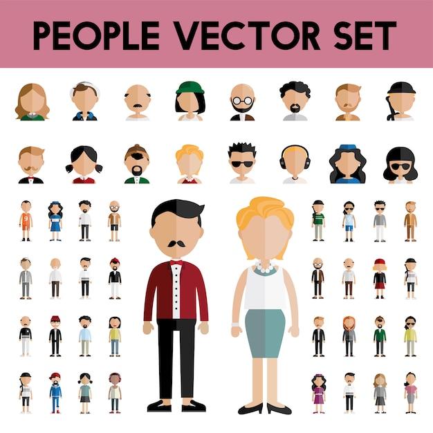 Conceito de ícones de design plano de pessoas de comunidade de diversidade Vetor grátis