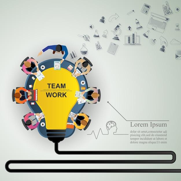 Conceito de idéia para trabalho em equipe de negócios. Vetor Premium