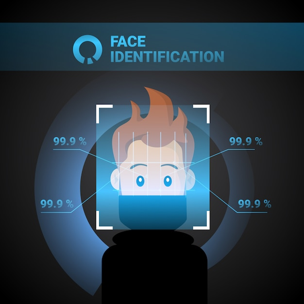 Conceito de identificação de rosto sistema de identificação de homem controle de acesso biométrico conceito de reconhecimento Vetor Premium