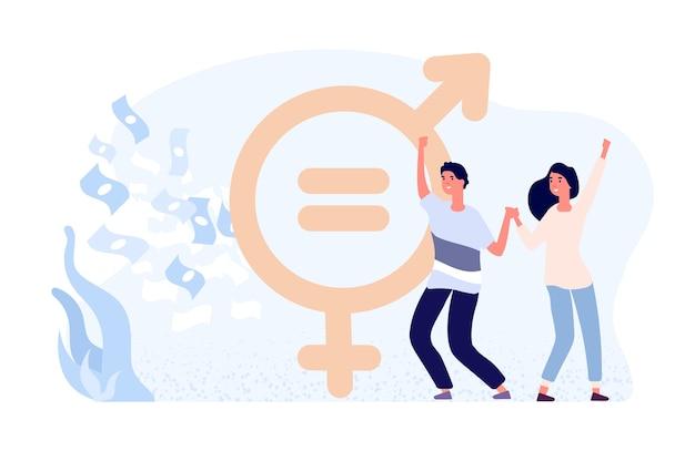 Conceito de igualdade de gênero. felizes personagens planas femininas e masculinas, dinheiro e sinal de gênero. igualdade salarial de gênero. gênero de direitos salariais Vetor Premium