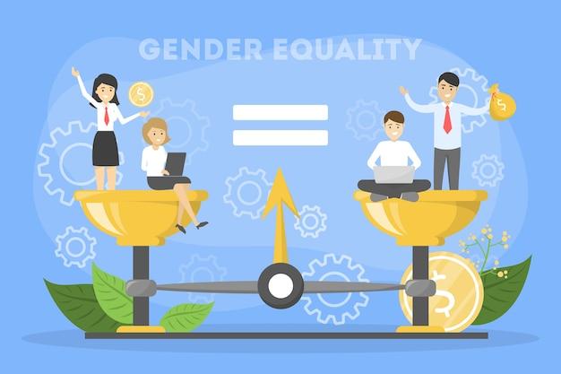 Conceito de igualdade de gênero. personagem feminino e masculino Vetor Premium