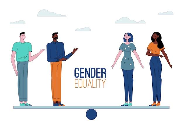 Conceito de igualdade de gênero Vetor grátis