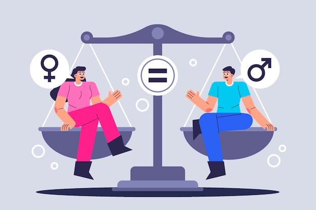 Conceito de igualdade de gênero Vetor Premium