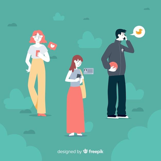 Conceito de ilustração com personagens segurando telefones Vetor grátis