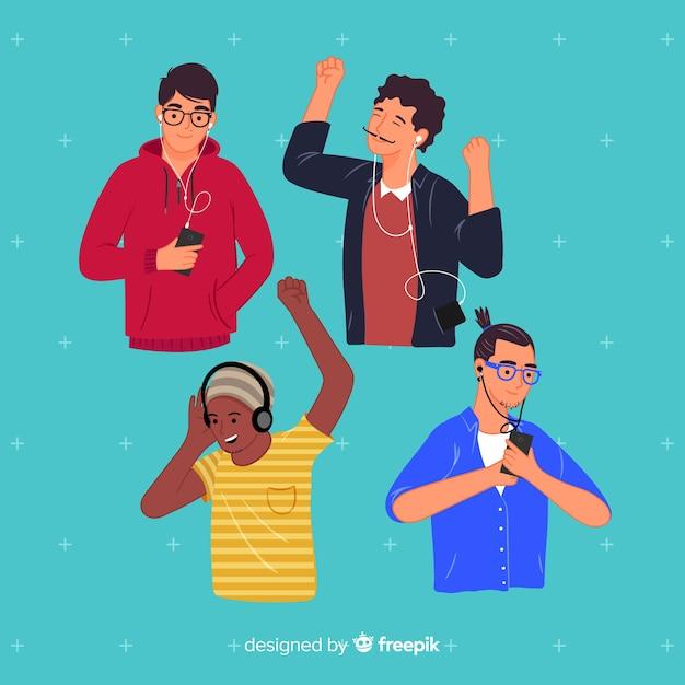 Conceito de ilustração com pessoas ouvindo música Vetor grátis