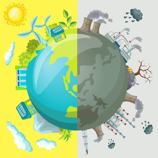 Conceito de ilustração comparativa de ecologia dos desenhos animados Vetor grátis