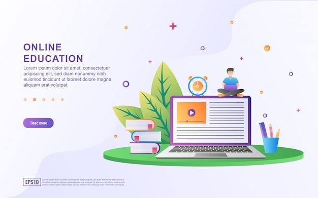 Conceito de ilustração da educação on-line. educação on-line, treinamento e cursos, aprendizado. Vetor Premium