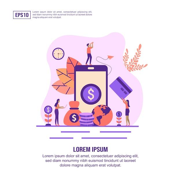 Conceito de ilustração de banca de internet com characte Vetor Premium