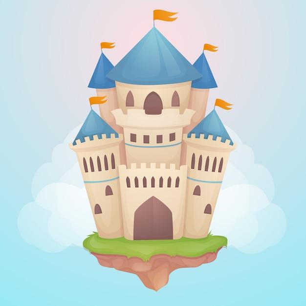 Conceito de ilustração de castelo de conto de fadas Vetor Premium