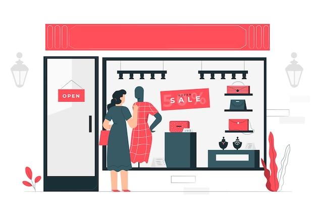 Conceito de ilustração de compras de janela Vetor grátis