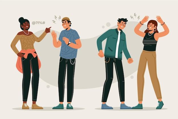Conceito de ilustração de conflitos de casal Vetor grátis