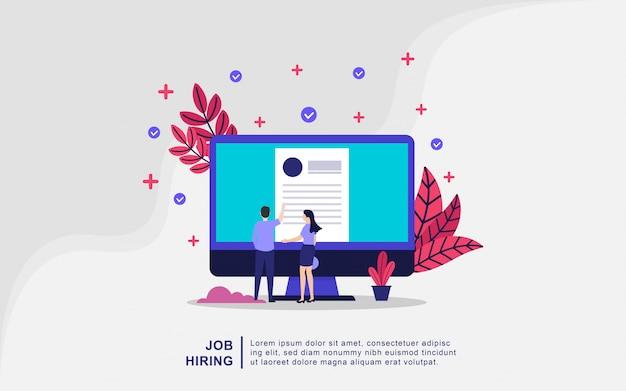 Conceito de ilustração de contratação de emprego. recrutamento aberto do homem de negócios e das mulheres Vetor Premium