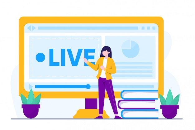 Conceito de ilustração de cursos on-line Vetor Premium