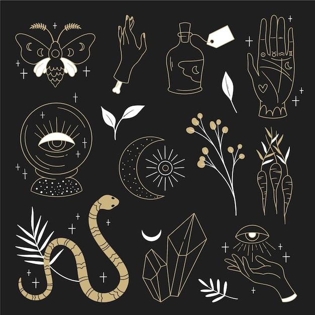 Conceito de ilustração de elementos esotéricos Vetor grátis