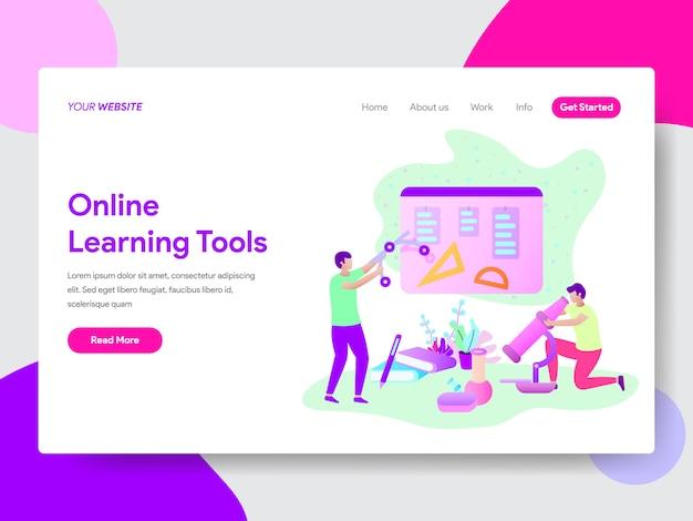 Conceito de ilustração de ferramentas de aprendizagem on-line para páginas da web Vetor Premium