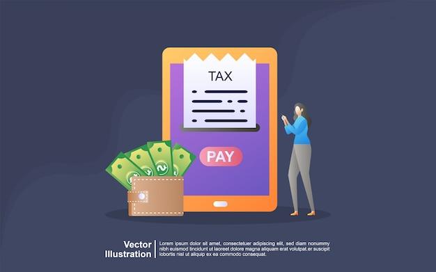 Conceito de ilustração de imposto on-line. preenchendo formulário de imposto. conceito de negócios. Vetor Premium