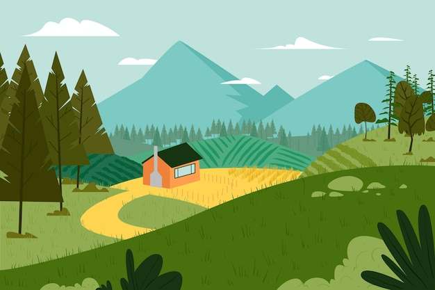 Conceito de ilustração de paisagem campestre Vetor grátis