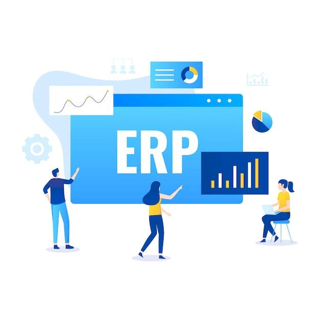 Conceito de ilustração de planejamento de recursos empresariais erp, produtividade e aprimoramento da empresa. ilustração Vetor Premium