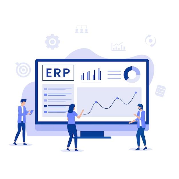 Conceito de ilustração de planejamento de recursos empresariais erp Vetor Premium