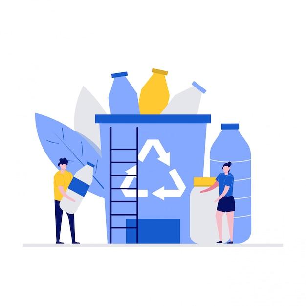 Conceito de ilustração de problema de poluição de plástico com personagens. grupo de pessoas que coleta lixo plástico para a lixeira. Vetor Premium