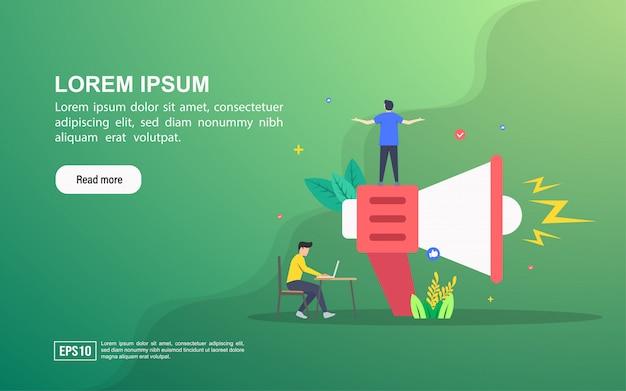Conceito de ilustração de publicidade. modelo de web da página de destino ou publicidade on-line Vetor Premium