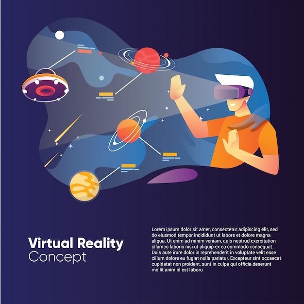 Conceito de ilustração de realidade virtual com um homem usando uma caixa vr com a galáxia espacial e o planeta Vetor Premium