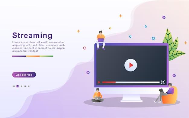 Conceito de ilustração de streaming de vídeo. pessoas jogam vídeo online, jogando filme, filme. Vetor Premium