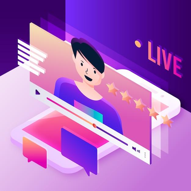 Conceito de ilustração de transmissão ao vivo com pessoa Vetor grátis