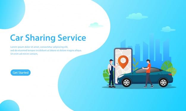 Conceito de ilustração de vetor de serviço de compartilhamento de carro Vetor Premium